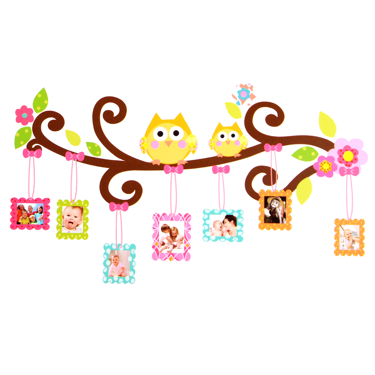 Other flashes accessories owl flower tree photo frame for Cadre floral mural
