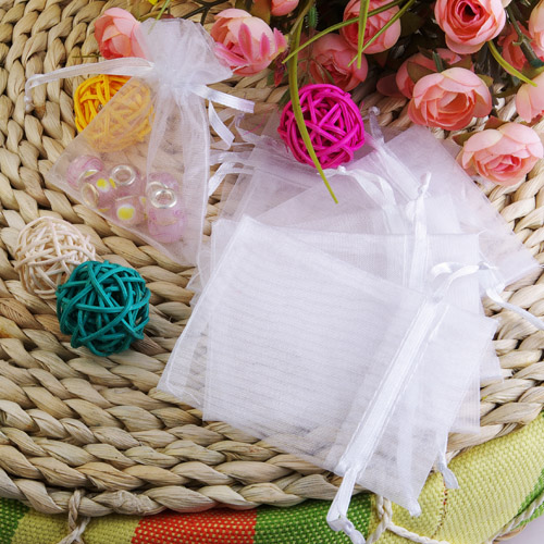 100 White Organza Pouch Wedding Favors Gift Bags 7X9cm