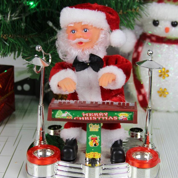Christmas Electric Toy Santa Claus Playing Piano