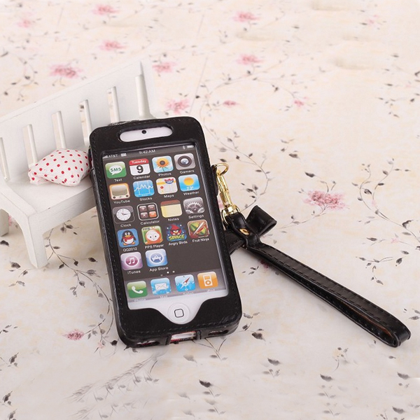 Fashion PU Leather Case Cover With Hang Rope For iPhone 5