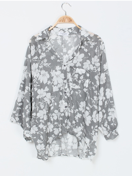 Floral Batwing Sleeve Turn-down Collar Blouse