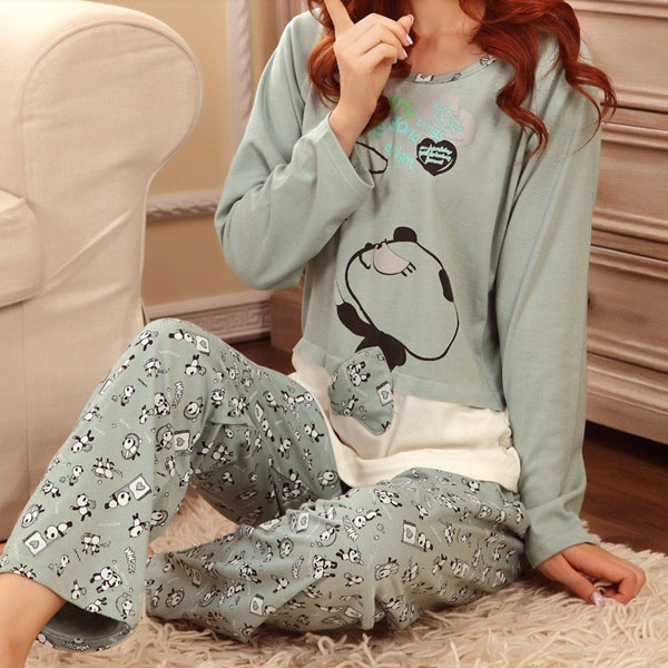 Green Cartoon Long Sleeve Pajama Suit Tracksuit