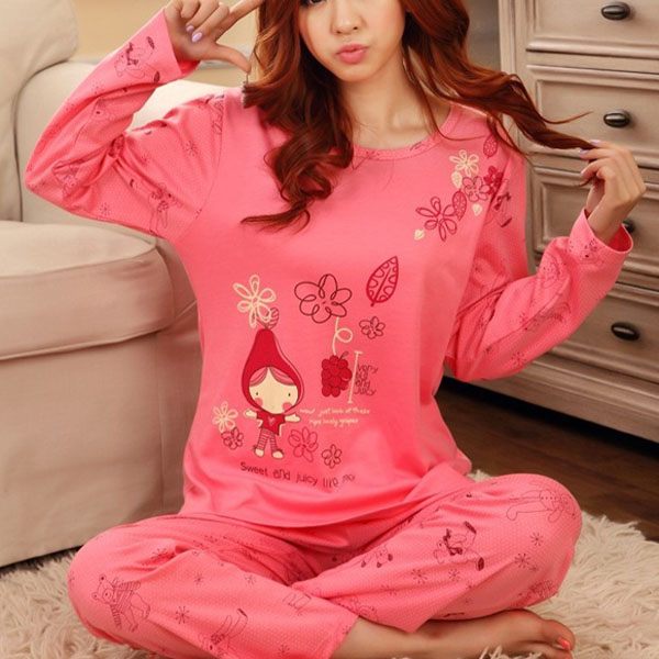 Cartoon Pink Long Sleeve Pajamas Tracksuit