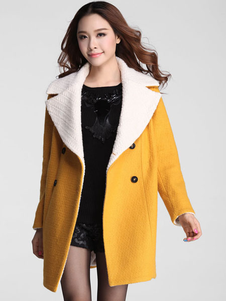 Double-breasted Loose Big Turn-down Collar Causal Coat