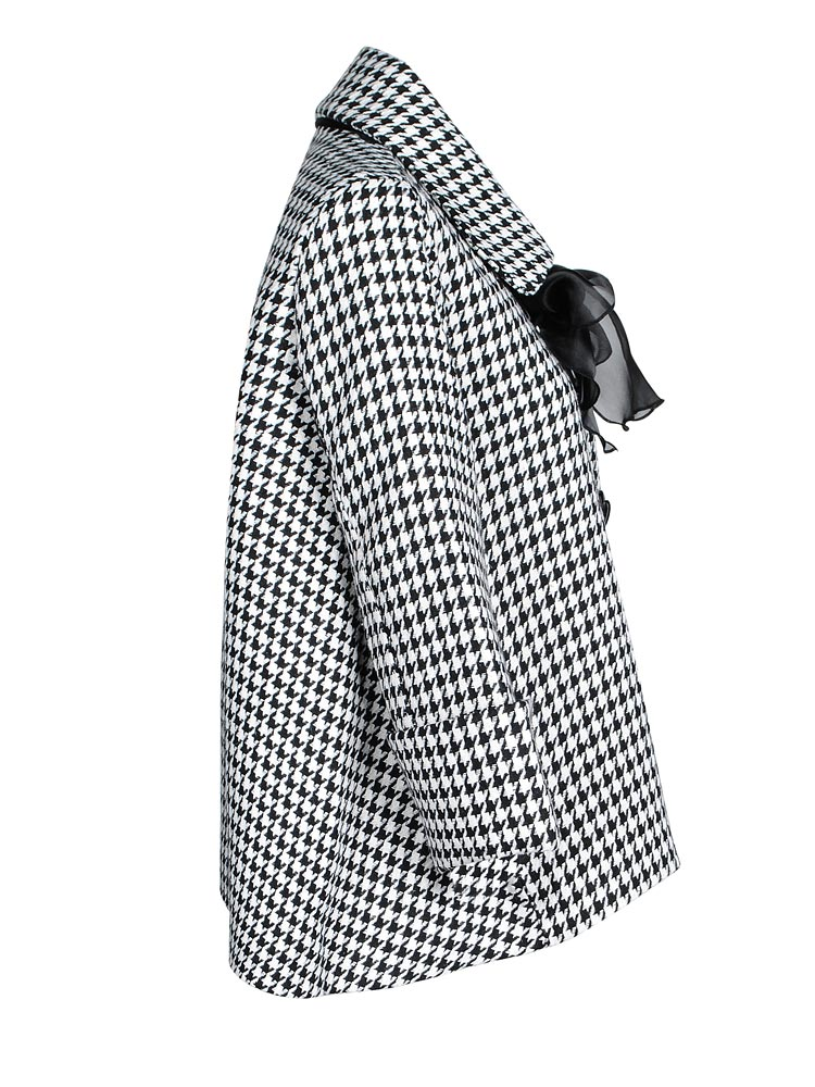 Houndstooth Bow Cashmere Wool Coat Jacket
