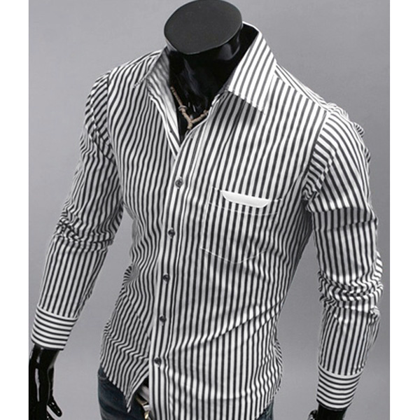 Mens Stylish Slim Fit Long Sleeve Stripe Casual Shirt