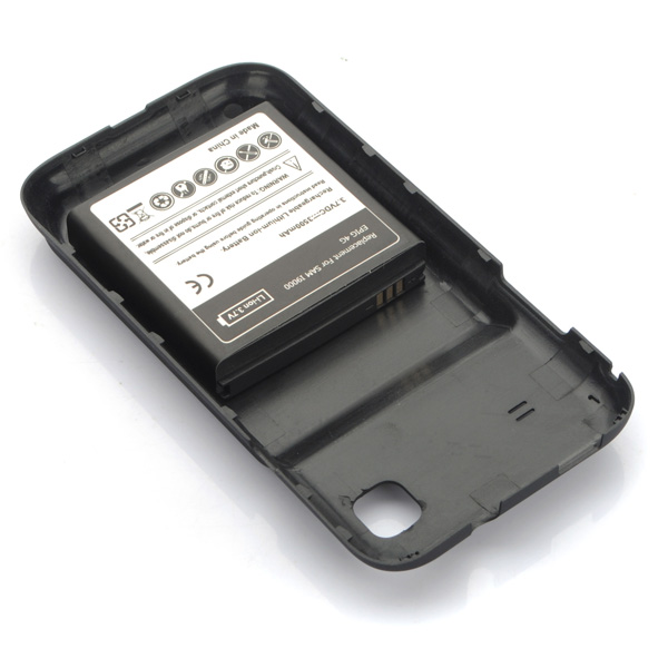 Extended Battery + Black Back Cover for Samsung I9000 Galaxy S