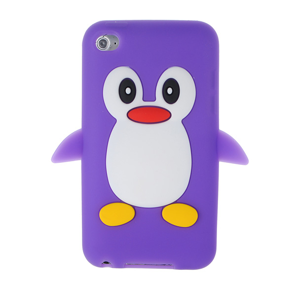 3D Cute Penguin Soft Rubber Silicone Case Cover For iPod Touch 4