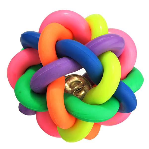 W007 pet toy woven colored colorful bell ball