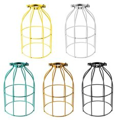 Vintage Industrial Steel Light Bulb Guard Clamp On Metal Pendant Light Lamp Cage
