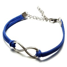 Multicolor Silver Infinity Charm Bracelet Metal Leather Bracelet