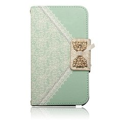 Lace Bowknot Flip Leather Wallet Card