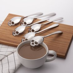 KCASA KC-FS05 Skull Shape Stainless Steel Tea Coffee Sugar Stirring Spoon Scoop Teaspoon Tableware