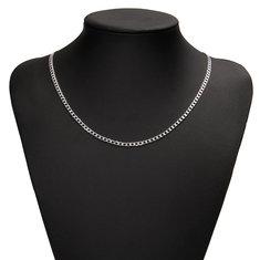 4MM Classic Curb 925 Silver Filled Men Necklace Chain