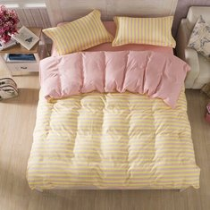 3 or 4pcs Suit Pink Yellow Stripe Reactive Dyeing Polyester Fiber Bedding Sets Twin full Queen Size