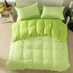 3 or 4pcs Suit Green Stripe Reactive Dyeing Polyester Fiber Bedding Sets Twin full Queen Size