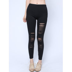 Punk Style Sexy Hollow Out High Waist Slim Leggings