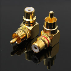 2pcs Brass Right Angle RCA Adapter Male to Female Plug Connector