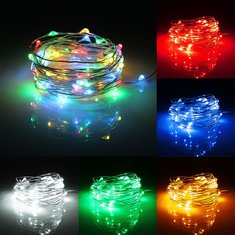 6M 60 LED Battery Operated Silver Wire Waterproof String Fairy Light + Remote Controller