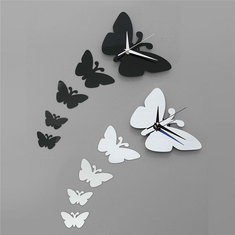 Butterfly Wall Clock Sticker Specular Surface Wall Sticker Home Decoration