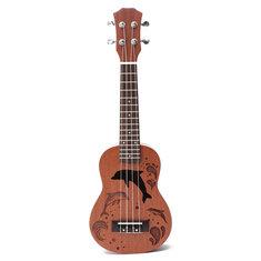 21 Inch Soprano Ukulele Uke Sapele 15 Frets Musical Instrument Dolphin Style