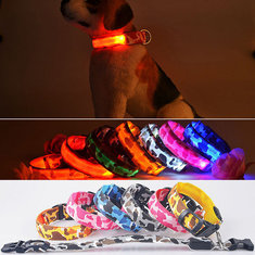 S Pet Dog LED Collar Nylon Safety Light-up Flashing Collar