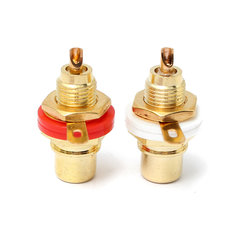 2pcs Gold Plated Female RCA Phono Jack Panel Mount Chassis Socket Set White Red Color