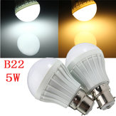 B22 5W 8 SMD 5630 Warm White/White Globe Ball Bulbs Plastic Lamp Lights 220-240V