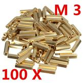 100Pcs M3*18mm Brass Screw Hexagonal Copper Isolation Column