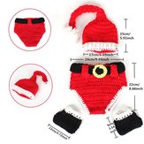 Christmas Santa Unisex Knit Crochet Costume Newborn Costume Party Baby Hat Diaper Cover Shoes Outfit Suits