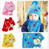 Winter Star Baby Toddler Boy Girl Kids Warmly Eagle Hats Caps Scarf Beanie Earflap Crochet Christmas Hooded