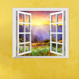 Sunrise 3D Artificial Window PAG Wall Decals Hill View Room Stickers Home Wall Decor Gift
