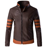 Plus Size Mens Motorcycle PU Leather Jacket Stand Collar Spell Color Cool Coat