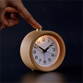 Classical Table LED Desk Wood Wooden Alarm Clock Snooze Beech Round Silent Decor