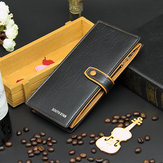 PU Leather Clutch Zipper Wallet Men Money Clip Business Long Purse
