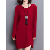 Casual Solid O-Neck Long Sleeve Loose Knitted Women Sweater Dress