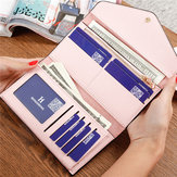 Women 3 Folded Long Wallet Hasp Envelope Purse Card Holder Coin Bags 5.5'' Phone Bag For Iphone 7P