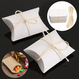 50Pcs White Pillow Favor Candy Boxes Kraft Paper Gift Box Wedding Party Birthday Gift Packing Bags