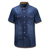 Casual Denim Short-sleeved Men Summer Loose Turn-down Collar Shirt T-shirt