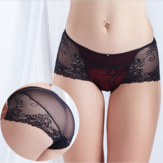 Women Sexy Mesh Sheer Seamless Floral Lace Low Rise Breathable Small Polka Dot Panties Underpanty