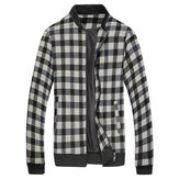 Men Fall Winter Cotton Blend Plaid Stand Collar Zipper Sports Elastic-bound Cuffs Jacket Coat