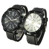 V6 Fashion Men PU Leather Band Analog Quartz Military Wrist Watch