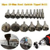 16pcs 15-50mm Steel Carbide Tipped Hole Saw Drill Bits Set Hole Saw Metal Wood Cutter