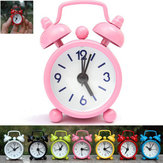 Mini Desk Alarm Clock Round Twin Bell Silent Metal Cartoon