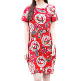 Original Folk Short Sleeve Print Vintage Style Women Pencil Dresses