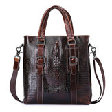 Men Business Genuine Real leather Crocodile Grain Crossbody Messenger HandBag Briefcase