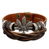 Punk Unisex Maple Leaf Leather Wristband Bangle Bracelet