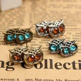 4 Pairs Of  Earrings Lovely Rhinestone Eyes Owl Ear Stud Set For Women