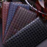Men Pu Leather Woven Pattern Long Wallet Business Thin Card Holder