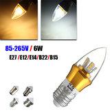 E27/E14/E12/B22/B15 6W LED Warm White/White 25SMD 2835 Golden Candle Light Bulb Lamp 85-265V